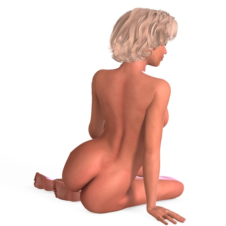naked woman sitting: attractive nude young female in a classic pinup pose. 3D rendering  Stock Photo