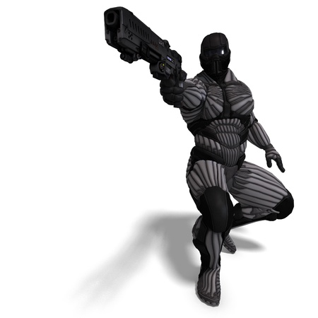braver: science fiction male character in futuristic suit. 3D rendering