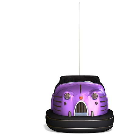 a colorful bumper car from the amusement park. 3D rendering  photo