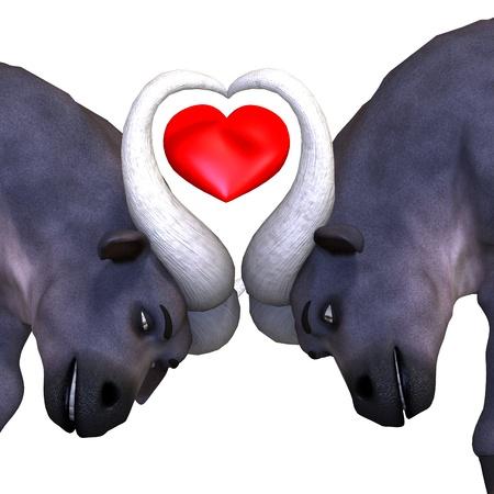 very cute and funny cartoon buffalo. 3D rendering  photo
