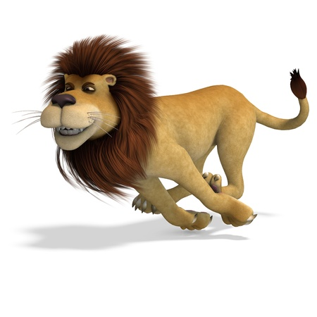 3d lion: cute and funny rendering of a male cartoon lion. 3D rendering