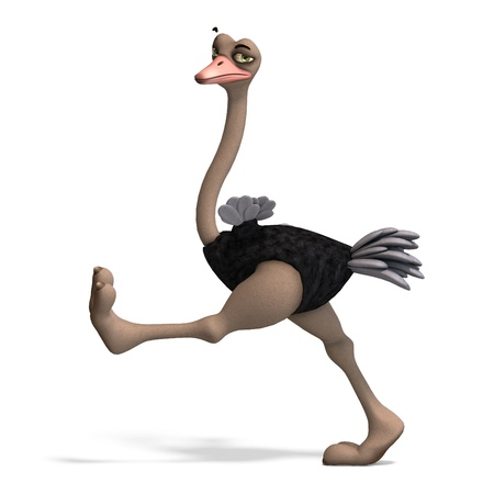 cute toon ostrich gives so much fun. 3D rendering Stock Photo - 9068938