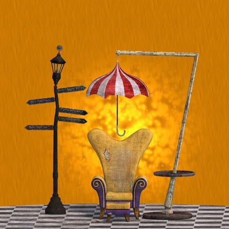daft: very surreal rendering of a chair with funny elements. 3D rendering of a fantasy theme for background usage.