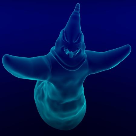 funny cartoon ghost. 3D rendering  photo