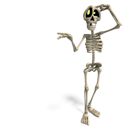 death and dying: very funny cartoon skeleton. 3D rendering