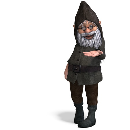 pygmy: cute and funny cartoon garden gnome.3D rendering  Stock Photo
