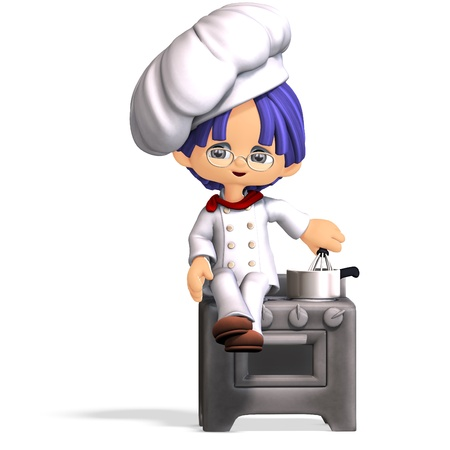 yummy: cute and funny cartoon cook. 3D rendering