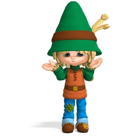 cute and funny cartoon farmer boy. 3D rendering   Stock Photo - 9068936