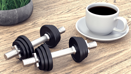 Two dumbbells and a cup of coffee. 3D rendering.