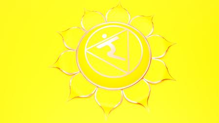 Yellow Manipura chakra solar plexus symbol concept of Hinduism, Buddhism, Ayurveda. Wisdom power. 3d rendering Stock Photo