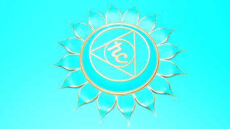 Blue Throat chakra Vishuddha symbol concept of Hinduism; Buddhism; Ayurveda. Communication. rendering Stock Photo