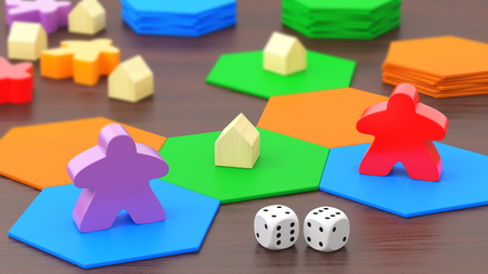 Board game, two figures and dice. 3D rendering.