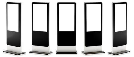 Fünf Informationsanzeigen. Banner steht in Ihrem Design. 3D-Rendering. Standard-Bild