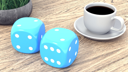 Dice and a cup of coffee on a wooden table. 3d render