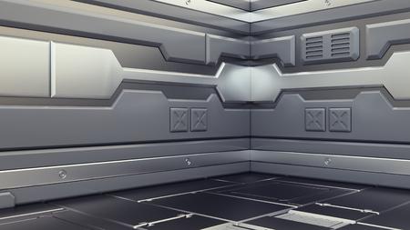 Science background fiction interior rendering sci-fi spaceship corridors,3D rendering Banco de Imagens