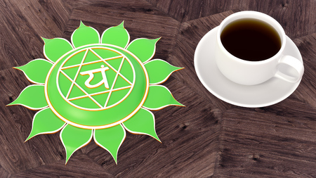 ?up of coffee on a wooden table. Morning Chakra Meditation. Anahata symbol 3d illustration