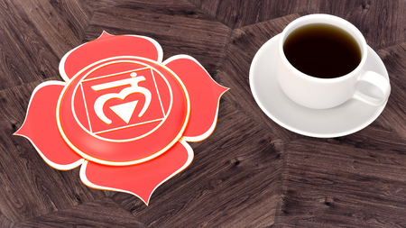 ?up of coffee on a wooden table. Morning Chakra Meditation. Muladhara symbol 3d illustration