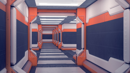 Sci-fi Interior spacecraft. White futuristic panels with orange accents. Spaceship corridor with light. 3d Illustration Stock Photo