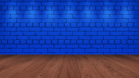 The brown wooden table top in the background is a blue old brick. Spotlight effect on the wall - can be used for display or montage your products 3d render