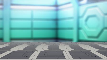 Closeup top steel table with Blur sci-fi Background 3d illustration Reklamní fotografie