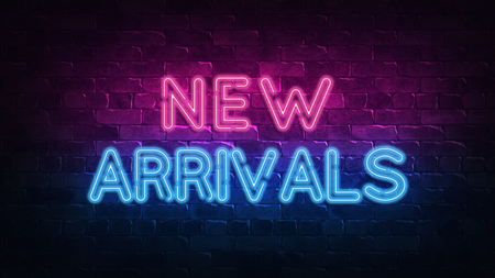 new arrivals neon sign. purple and blue glow. neon text. Brick wall lit by neon lamps. Night lighting on the wall. 3d illustration. Trendy Design. light banner, bright advertisement Archivio Fotografico - 123023074
