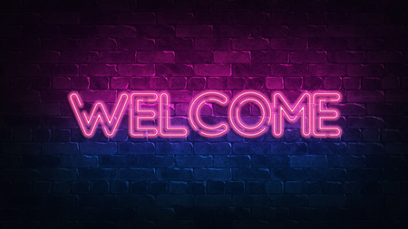 welcome neon sign. purple and blue glow. neon text. Brick wall lit by neon lamps. Night lighting on the wall. 3d illustration. Trendy Design. light banner, bright advertisement 免版税图像