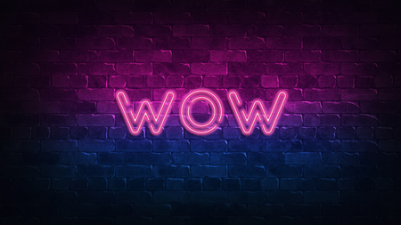 wow neon sign. purple and blue glow. neon text. Brick wall lit by neon lamps. Night lighting on the wall. 3d illustration. Trendy Design. light banner, bright advertisement 免版税图像