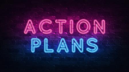 Action Plans neon sign, great design for any purposes. 3d render. Modern design. Retro emblem design. Slot neon sign. Decoration element. Futuristic concept. casino element.