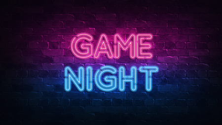 game night neon sign. purple and blue glow. neon text. Brick wall lit by neon lamps. Night lighting on the wall. 3d illustration. Trendy Design. light banner, bright advertisement