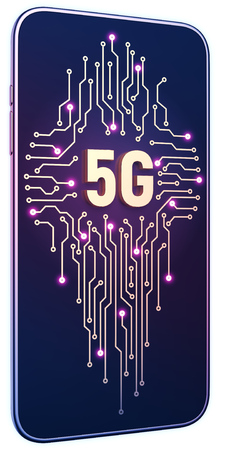 Smartphone white isolated background neon glow. Golden 5g symbol and circuit board on screen. 5g internet concept in technology 3d illustration 免版税图像