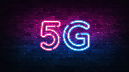 5g neon sign. purple and blue glow. neon text. Brick wall lit by neon lamps. Night lighting on the wall. 3d illustration. Trendy Design. light banner, bright advertisement