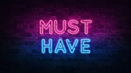 Must Have hot price neon sign. purple and blue glow. neon text. Brick wall lit by neon lamps. Night lighting on the wall. 3d illustration. Trendy Design. light banner, bright advertisement Фото со стока