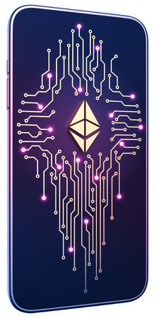 Smartphone white isolated background neon glow. Golden Ethereum symbol and circuit board on screen. The concept of mobile mining and trading. Can be used for presentations in site design. 3d render