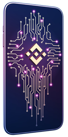 Smartphone white isolated background neon glow. Golden Binance symbol and circuit board on screen. The concept of mobile mining and trading. Can be used for presentations in site design. 3d render 免版税图像