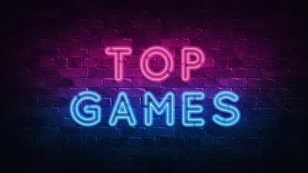 top games neon sign, great design for any purposes. 3d render. Modern design. Retro emblem design. Slot neon sign. Decoration element. Futuristic concept. casino element. 免版税图像