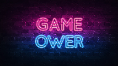 game over neon sign. purple and blue glow. neon text. Brick wall lit by neon lamps. Night lighting on the wall. 3d illustration. Trendy Design. light banner, bright advertisement 免版税图像
