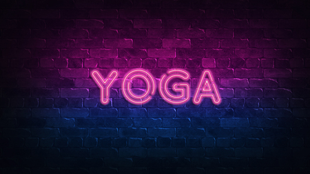 yoga neon sign. purple and blue glow. neon text. Brick wall lit by neon lamps. Night lighting on the wall. 3d illustration. Trendy Design. light banner, bright advertisement