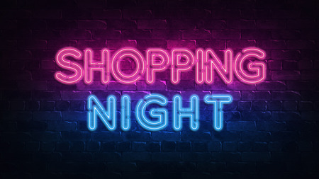 Shopping night neon sign. purple and blue glow. neon text. Brick wall lit by neon lamps. Night lighting on the wall. 3d illustration. Trendy Design. light banner, bright advertisement