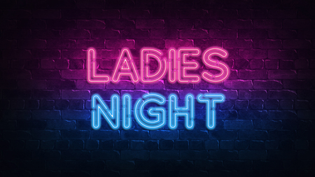 ladies night neon sign. purple and blue glow. neon text. Brick wall lit by neon lamps. Night lighting on the wall. 3d illustration. Trendy Design. light banner, bright advertisement 免版税图像
