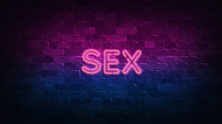 sex neon sign. purple and blue glow. neon text. Brick wall lit by neon lamps. Night lighting on the wall. 3d illustration. Trendy Design. light banner, bright advertisement