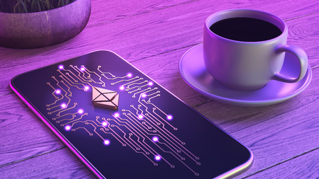 Mobile cryptocurrency trading concept. The smartphone is lying on a wooden table, next to a cup of aromatic coffee. Neon glow. 3d illustration. Mining over the network