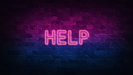 help neon sign. purple and blue glow. neon text. Brick wall lit by neon lamps. Night lighting on the wall. 3d illustration. Trendy Design. light banner, bright advertisement