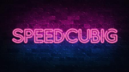 Speedcubing neon sign, great design for any purposes. 3d render. Modern design. Retro emblem design. Slot neon sign. Decoration element. Futuristic concept. casino element.