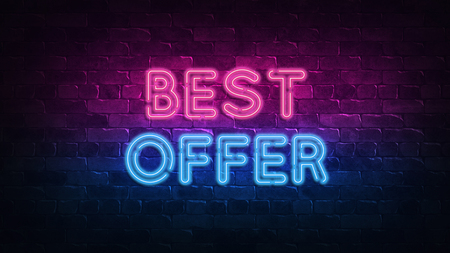 best offer neon sign. purple and blue glow. neon text. Brick wall lit by neon lamps. Night lighting on the wall. 3d illustration. Trendy Design. light banner, bright advertisement