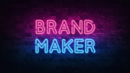 brandmaker neon sign. purple and blue glow. neon text. Brick wall lit by neon lamps. Night lighting on the wall. 3d illustration. Trendy Design. light banner, bright advertisement
