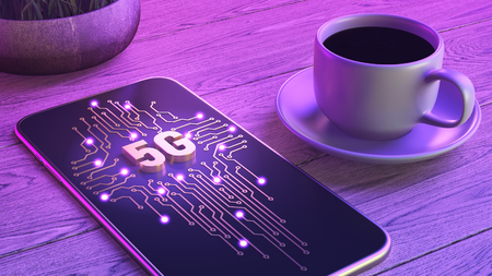 Mobile network of new generation 5g concept. The smartphone is lying on a wooden table, next to a cup of aromatic coffee. Neon glow. 3d illustration 免版税图像