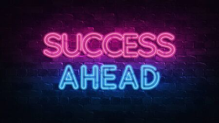 Success ahead neon sign. purple and blue glow. neon text. Brick wall lit by neon lamps. Night lighting on the wall. 3d illustration. Trendy Design. light banner, bright advertisement