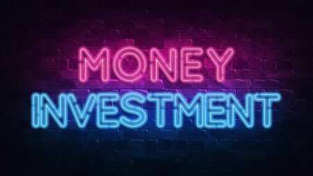 money investment neon sign. purple and blue glow. neon text. Brick wall lit by neon lamps. Night lighting on the wall. 3d render. Trendy Design. light banner, bright advertisement