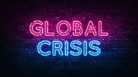 Global Crisis neon sign. purple and blue glow. neon text. Brick wall lit by neon lamps. Night lighting on the wall. 3d render. Trendy Design. light banner, bright advertisement 免版税图像