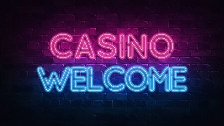 Casino welcome neon sign. purple and blue glow. neon text. Brick wall lit by neon lamps. Night lighting on the wall. 3d render. Trendy Design. light banner, bright advertisement